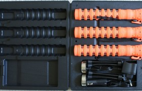LED Verkeers Batton, 3 stuks oplaadbaar in koffer